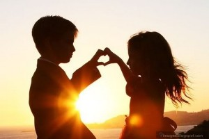 children hands heart